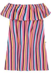 Vestido Infantil Menina Em Malha 100% Algodão Ombro A Ombro Hering Kids