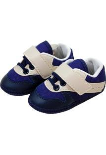 Tênis Confort Sapatinhos Baby Bege E Azul