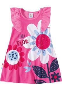 Vestido Estampado Flor Menina Zig Zig Zaa Rosa Escuro - 2