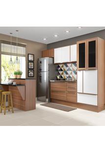 Cozinha Compacta Calábria 12 Portas 4 Gavetas Nogueira/Branco - Multimóveis
