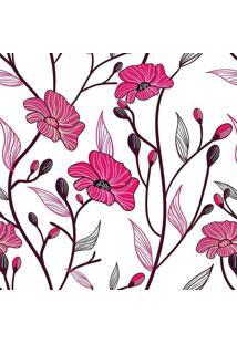 Papel De Parede Floral- Pink & Marrom- 300X0,58Cm