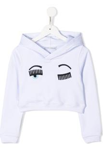 Chiara Ferragni Kids Blusa De Moletom Cropped 'Flirting' - Branco