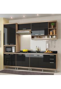 Cozinha Compacta 11 Portas Sicília Com Tampo 5809 Preto/Argila - Multimóveis