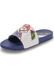 Chinelo Slide Super Mario World Grendene Kids - 22272 Cinza/Azul 23/24
