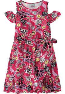 Vestido Evasê Lol® Menina Malwee Kids Rosa Escuro - 8
