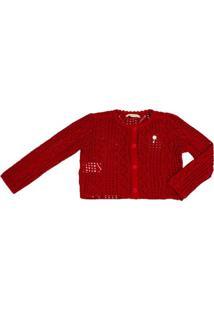 Casaco Tricot Vermelho Infantil - Feminino-Vermelho