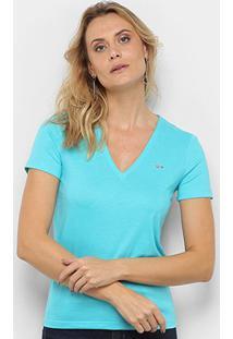 Camiseta Lacoste Gola V Feminina - Feminino-Azul