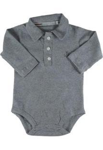 Body Bebê Em Empório Bebê Gola Polo Masculino - Masculino-Cinza