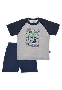 Pijama Mescla Cinza - Infantil Menino Meia Malha 42755-567 Pijama Cinza - Infantil Menino Meia Malha Ref:42755-567-8