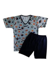 Pijama Grappin Masculino Manga E Short Curto Infantil Juvenil Basquete-E167