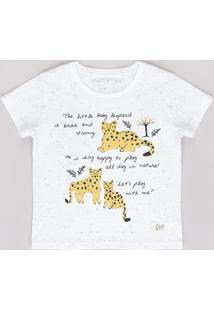 Camiseta Infantil Leopardo Manga Curta Off White