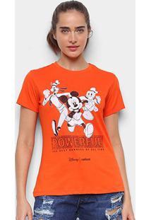 Camiseta Colcci Mickey And Friends Feminina - Feminino-Laranja