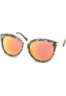 19816f4b5025c Óculos De Sol Bijoulux Gatinha Marmorizado Lente Espelhada Laranja