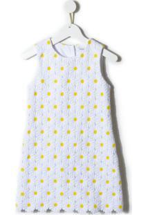 Dolce & Gabbana Kids Vestido Bordado Floral - Branco
