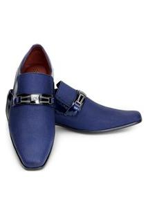 Sapato Social Masculino Bico Fino Azul Luxo Em Couro Gofer 0556