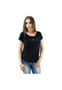 Camiseta T-Shirt Feminina Estampa Coração Cor Preta Baumni