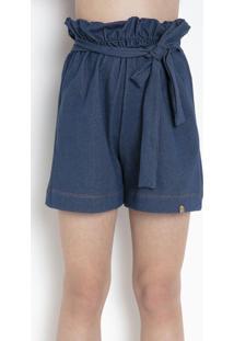 Shorts Clochart Azul Com Faixa Para Amarrar