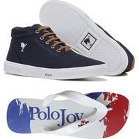 7ab91dc991b Kit Sapatênis + Chinelo Polo Joy Masculino - Masculino-Azul