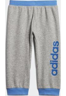 Calça Infantil Adidas Lin Masculina - Masculino-Cinza+Azul