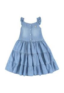 Vestido Jeans Com Babados Ser Garota Azul