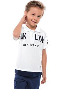 Camisa Polo Em Meia Malha Branco Quimby
