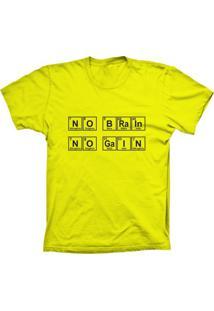 Camiseta Baby Look Lu Geek No Brain Amarelo