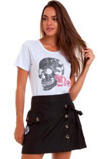 Camiseta Basica Joss Flores Da Lua Branca