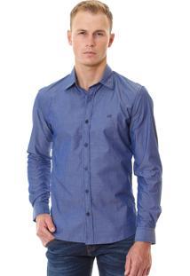Camisa Armani Exchange Masculina Micro-Print Shirt Azul