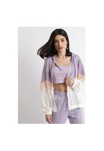 Jaqueta Corta Vento De Tela Feminina Color Block Com Capuz Off White