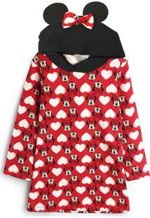 Vestido De Moletom Marlan Baby Infantil Minnie Vermelha - Tricae
