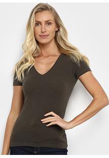 Camiseta Hering Básica Gola V Feminina - Feminino-Chumbo