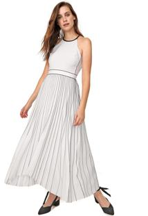 Vestido Banana Republic Midi Pleated Fit-And-Flare Branco/Azul-Marinho