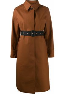 Mackintosh Trench Coat Com Cinto E Abotoamento Simples - Marrom