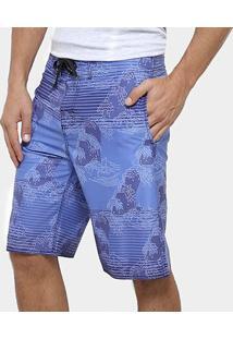 Bermuda D'Água Watkins & Brown Bolso Faca Estampa Listrada Masculina - Masculino-Azul