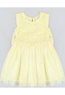 Vestido Infantil Em Tule Com Renda Sem Manga Amarelo