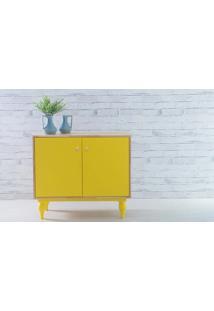 Armário 2 Portas Com Prateleira Puxador Bolinha Sideral - Natural E Amarelo 90X40X79,5 Cm