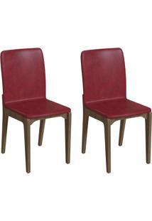 Conjunto Com 2 Cadeiras Darwin Vinho E Freijó