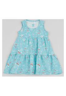 Vestido Infantil Estampado De Arco Íris Sem Manga Azul Claro