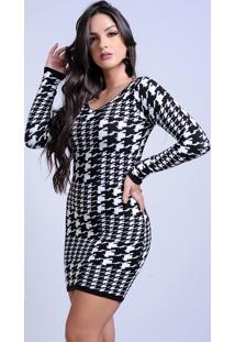 Vestido Curto Tricot Estampado Xadrez