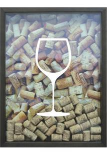 Quadro Porta Rolhas De Vinho Cm Betume