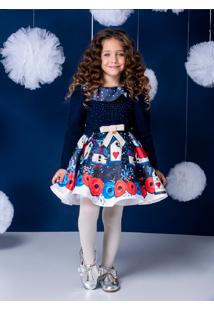 Vestido Infantil Rodado Em Tecido Estampa De Casa De Passarinhos Com Babado E Laço