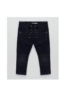 Calça Jeans Infantil Em Moletom Com Recortes Preta