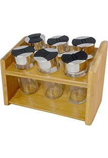 Jogo 6 Porta Condimentos Em Vidro Com Suporte Em Bambu - Dynasty - 20X14 Cm