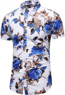 Camisa Floral Masculina - Branco/Azul Pp