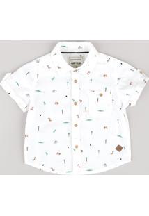 Camisa Infantil Estampada De Bichos Com Bolso Manga Curta Off White