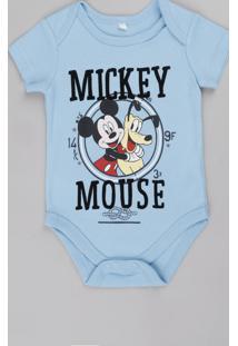 Body Infantil Mickey E Pluto Manga Curta Azul