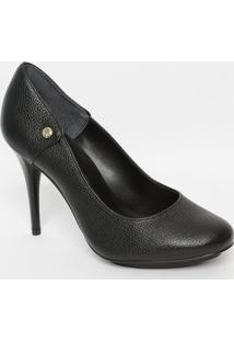 Sapato Em Couro Com Recortes - Preto - Salto: 10Cmjorge Bischoff