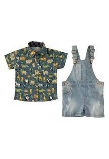 Jardineira Jeans + Camisa Petróleo Safari Mabu Denim