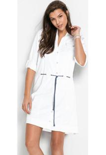 Vestido Chemise De Sarja Branco