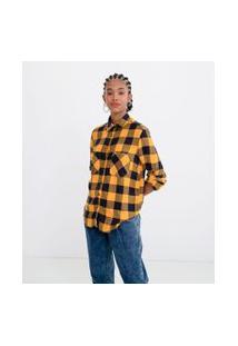 Camisa Manga Longa Estampa Xadrez Com Bolsos | Blue Steel | Amarelo | G